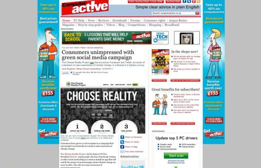 Article on critical reception to social media usage in Al Gore's Choose Reality campaign